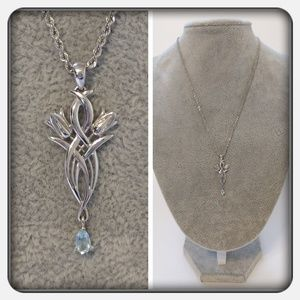 Jewelry - 💎14K White Gold and Blue Topaz Necklace